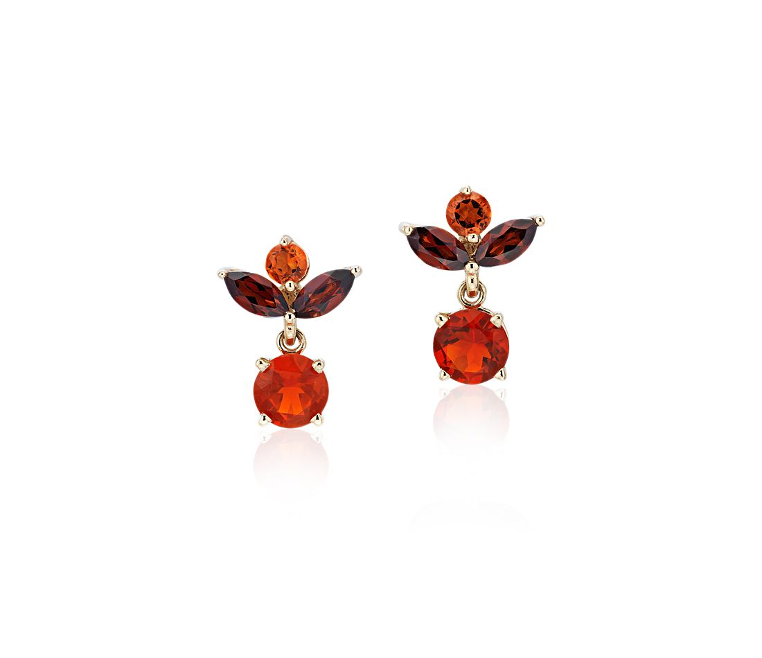 Vintage-Inspired Fire Opal Multi-Gemstone Earrings in 14k Yellow Gold (5mm)