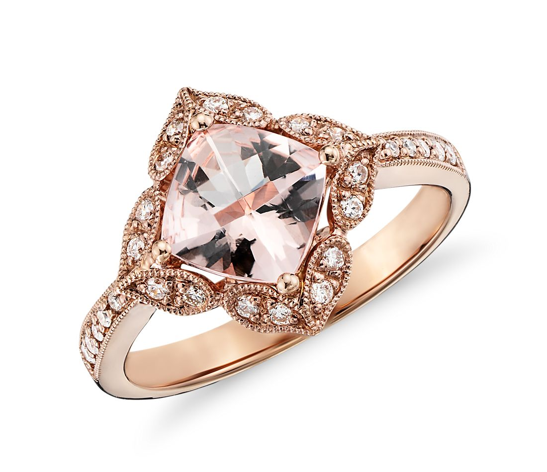 Vintage Morganite and Diamond Ring in 14k Rose Gold (0.19 ct. tw.)
