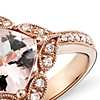 Vintage Morganite and Diamond Ring in 14k Rose Gold (0.19 ct. tw.)