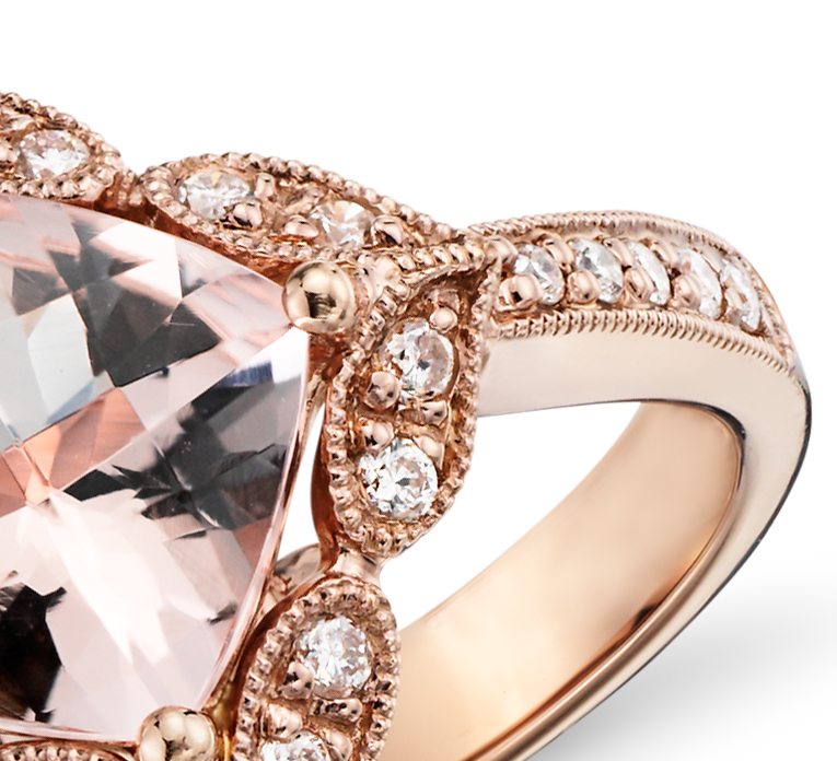 Anillo vintage de morganita y diamantes en oro rosado de 14k (0.19 qt. total)