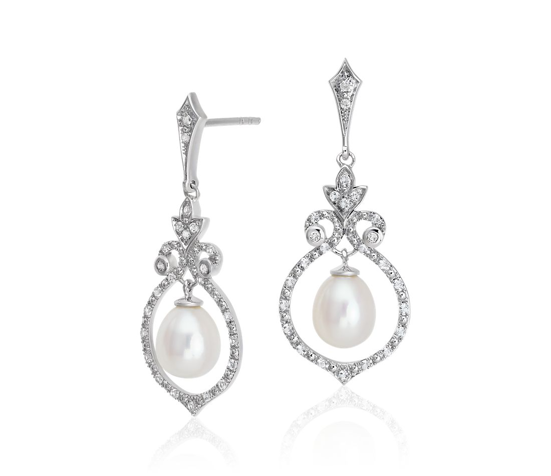 3339a2f92 Vintage-Inspired Freshwater Cultured Pearl and White Topaz Chandelier Drop  Earrings in Sterling Silver (6mm) | Blue Nile