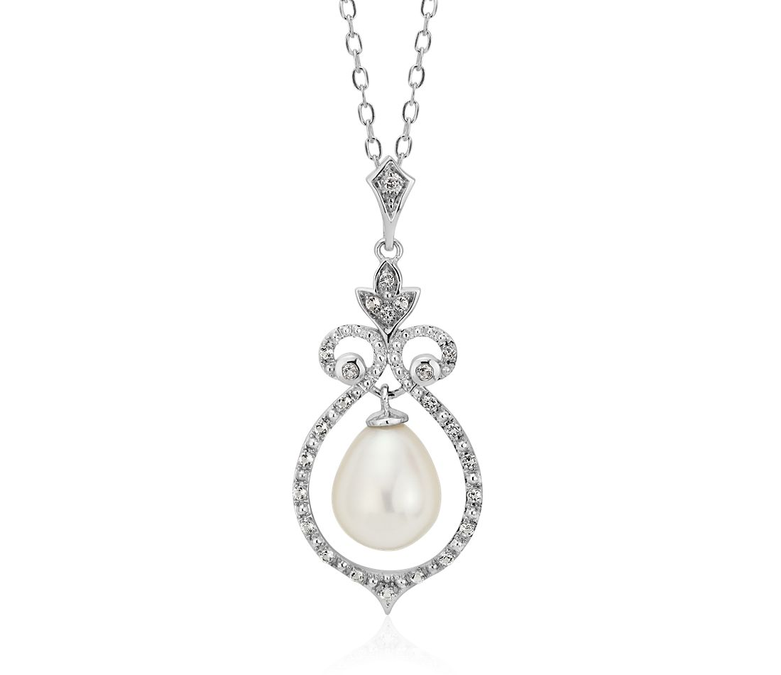 Vintage-Inspired Freshwater Cultured Pearl and White Topaz Pendant in Sterling Silver (8mm)