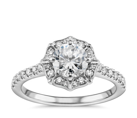 Vintage Shield Diamond Halo Engagement Ring in 14k White Gold (1/5 ct. tw.)