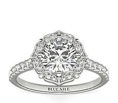 14k 白金复古盾形光环钻石订婚戒指<br>(1/5 克拉总重量)