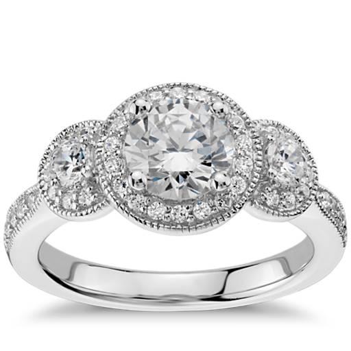 White Wedding Espa L: Three Stone Milgrain Halo Diamond Engagement Ring In 14k