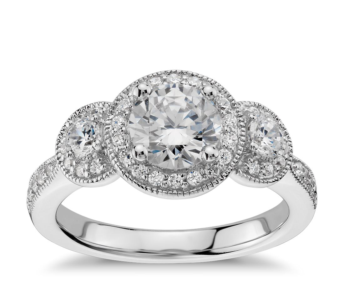 Three Stone Milgrain Halo Diamond Engagement Ring in 14k White Gold (1/2 ct. tw.)