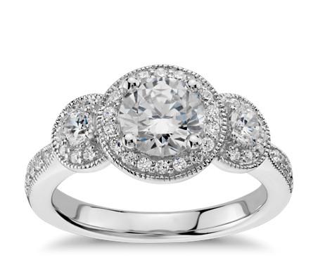 Three Stone Milgrain Halo Diamond Engagement Ring In 14k White Gold 1 2 Ct Tw