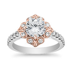 14k 白金及玫瑰金复古双色花卉盾形光环订婚戒指<br>(1/3 克拉总重量)
