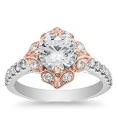 Vintage Two-Tone Floral Shield Halo Engagement Ring in 14k White and Rose Gold (1/3 ct. tw.)