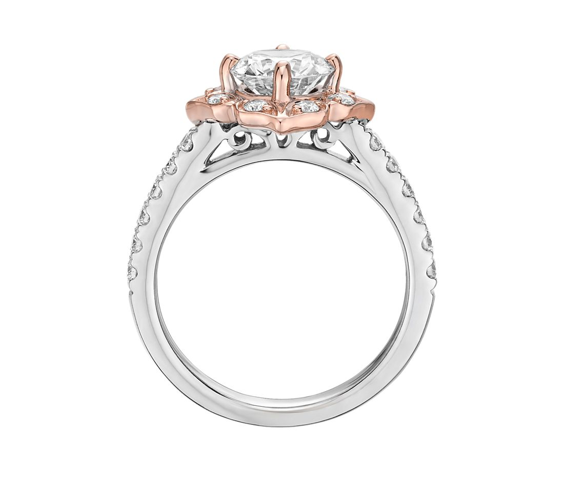 Vintage Two Tone Floral Shield Halo Engagement Ring In 14k
