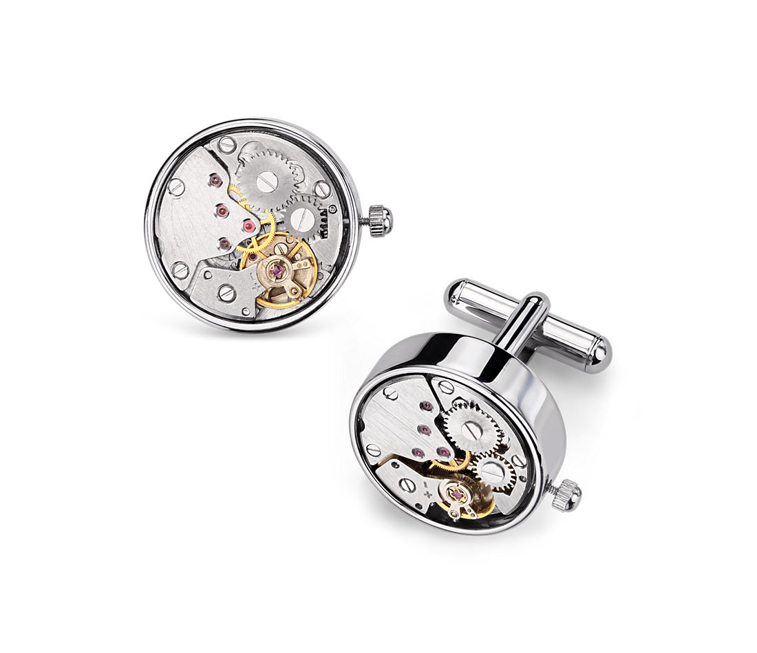 Steampunk Watch Movement Cuff Links in Stainless Steel