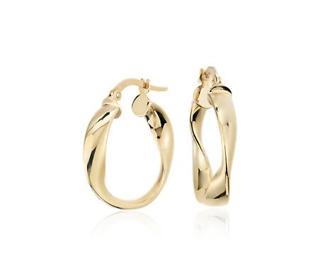 Blue Nile Wave Hoop Earrings in 14k Yellow Gold tyulQ9