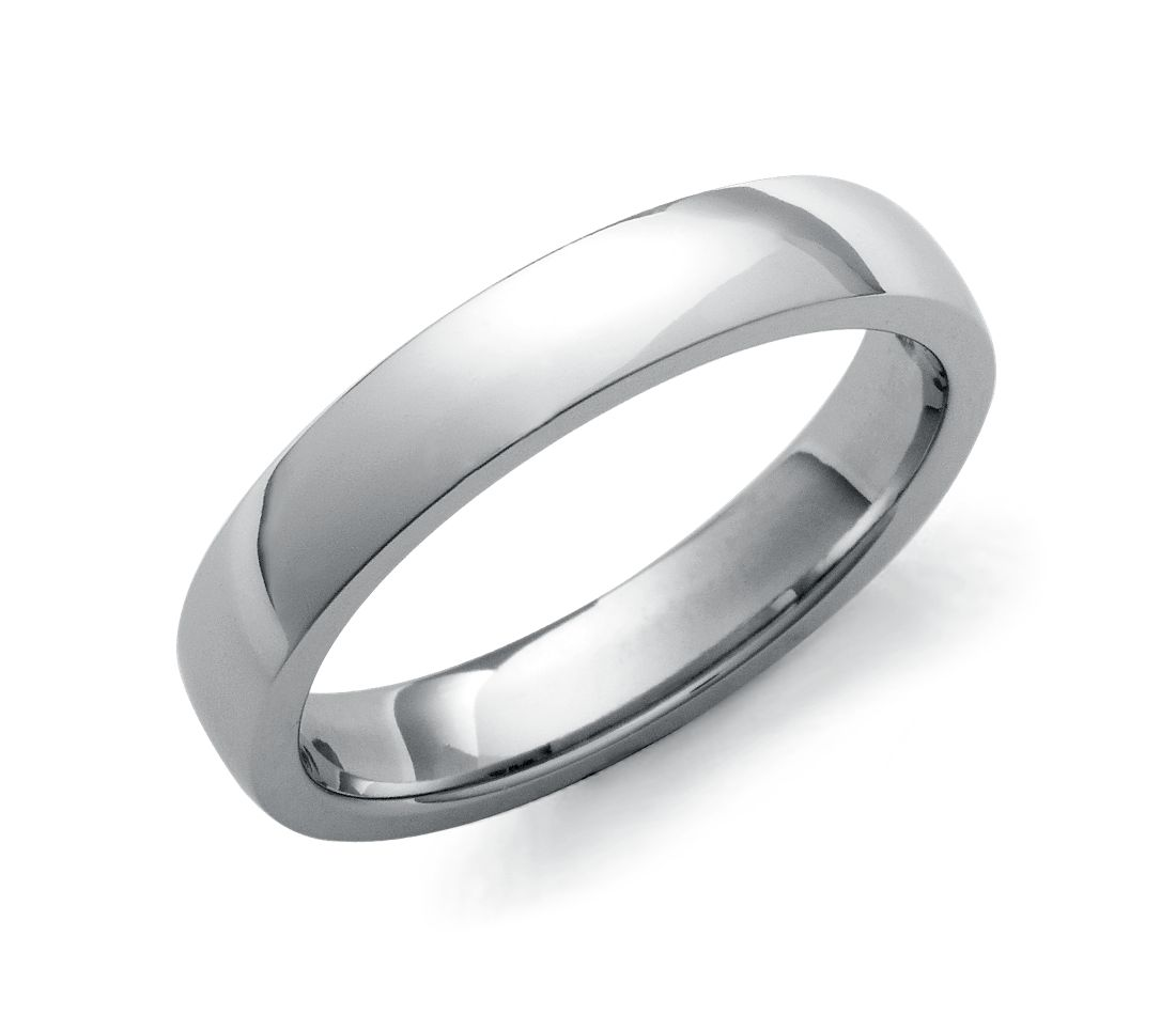 Low Dome Comfort Fit Wedding Ring in 14k White Gold (4mm)