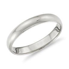 14k 白金經典結婚戒指(3毫米)