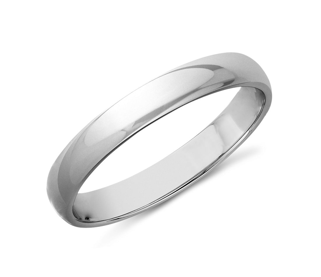 classic wedding ring in 14k white gold 3mm - Black And White Wedding Rings