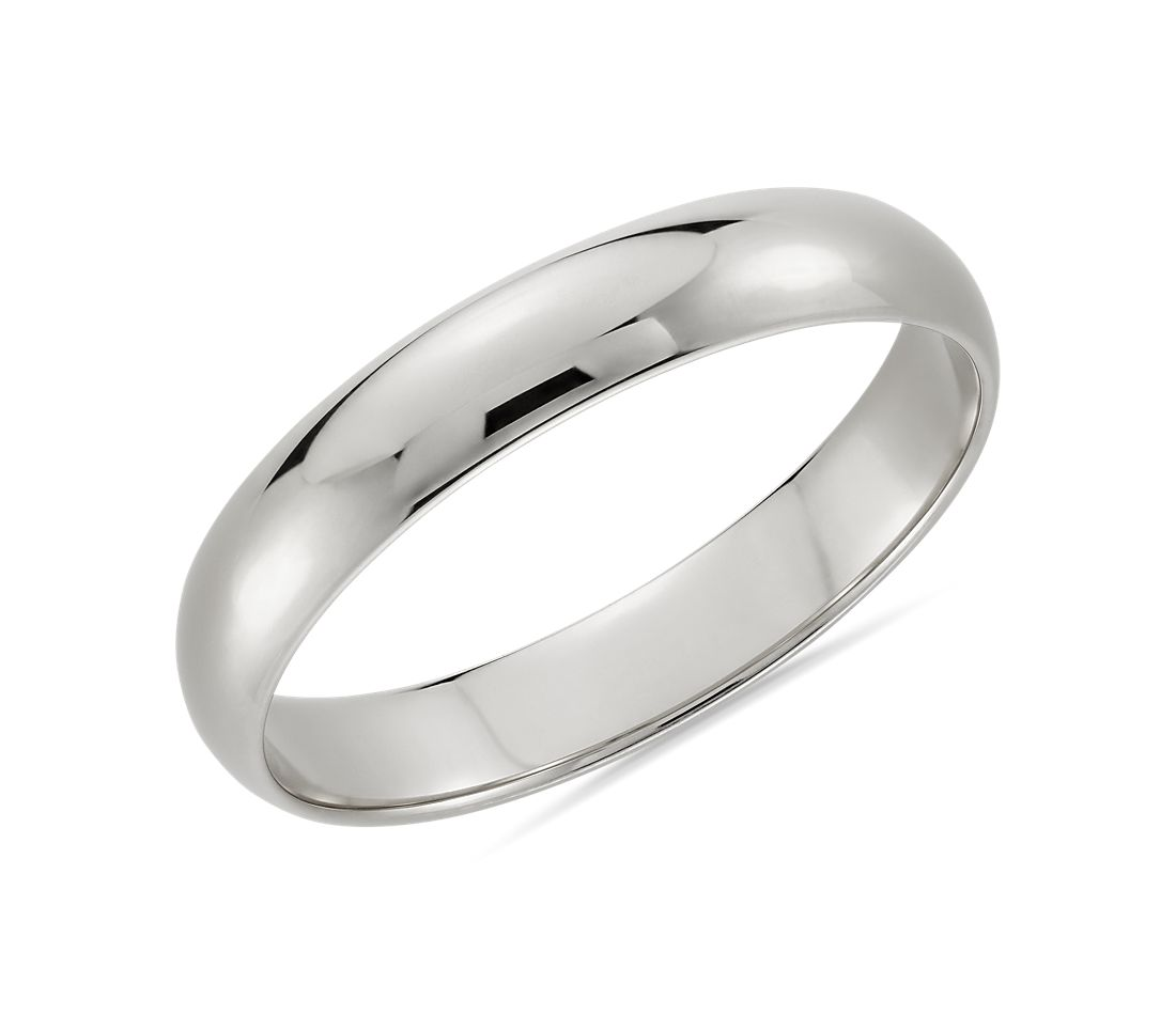 White Gold Wedding Band.Classic Wedding Ring In 14k White Gold 4mm