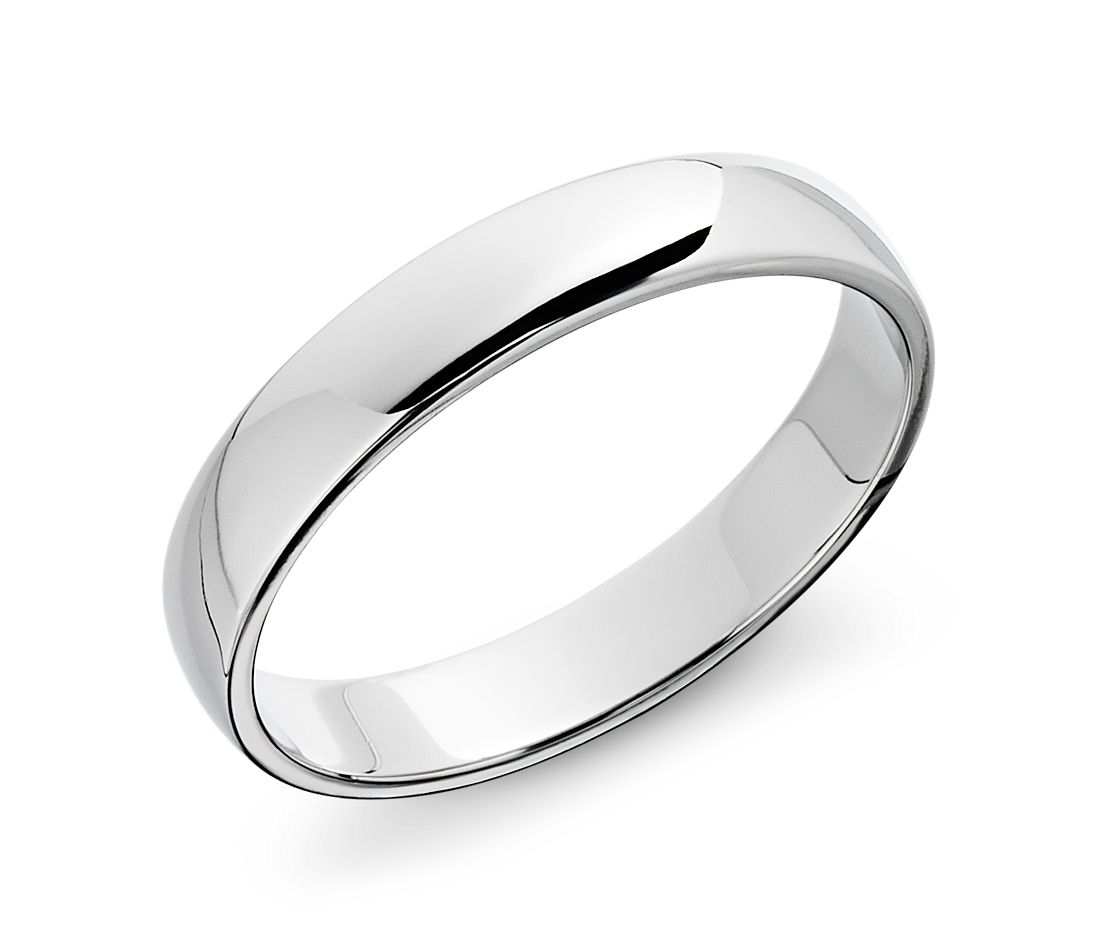 classic wedding ring in 14k white gold 4mm - Blue Wedding Ring