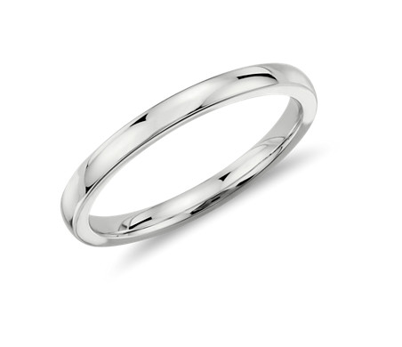 Low Dome Comfort Fit Wedding Ring In Platinum 2mm