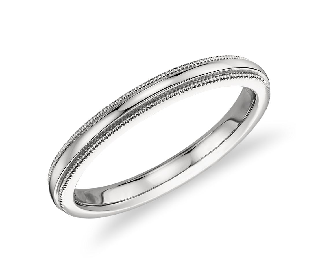 Milgrained Comfort Fit Wedding Ring in Platinum (2.5mm)