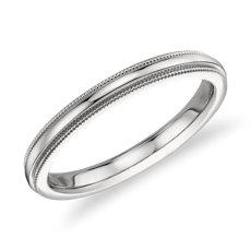 Milgrained Comfort Fit Wedding Ring in Platinum (2.5mm)