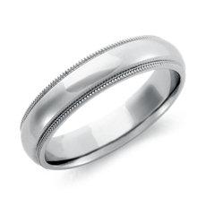 Milgrained Comfort Fit Wedding Ring in Platinum (5mm)