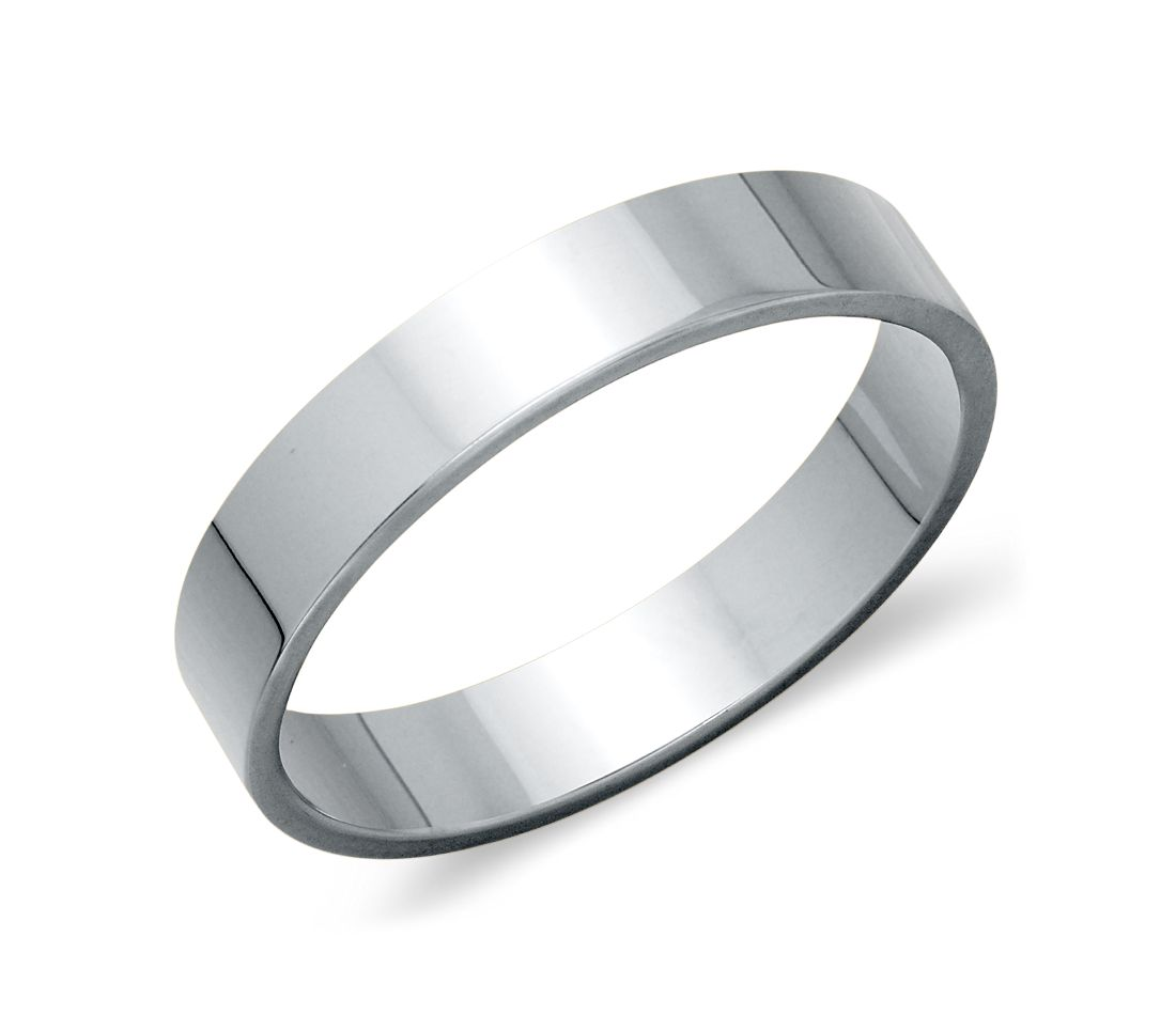 flat wedding ring in platinum 4mm - Flat Wedding Rings