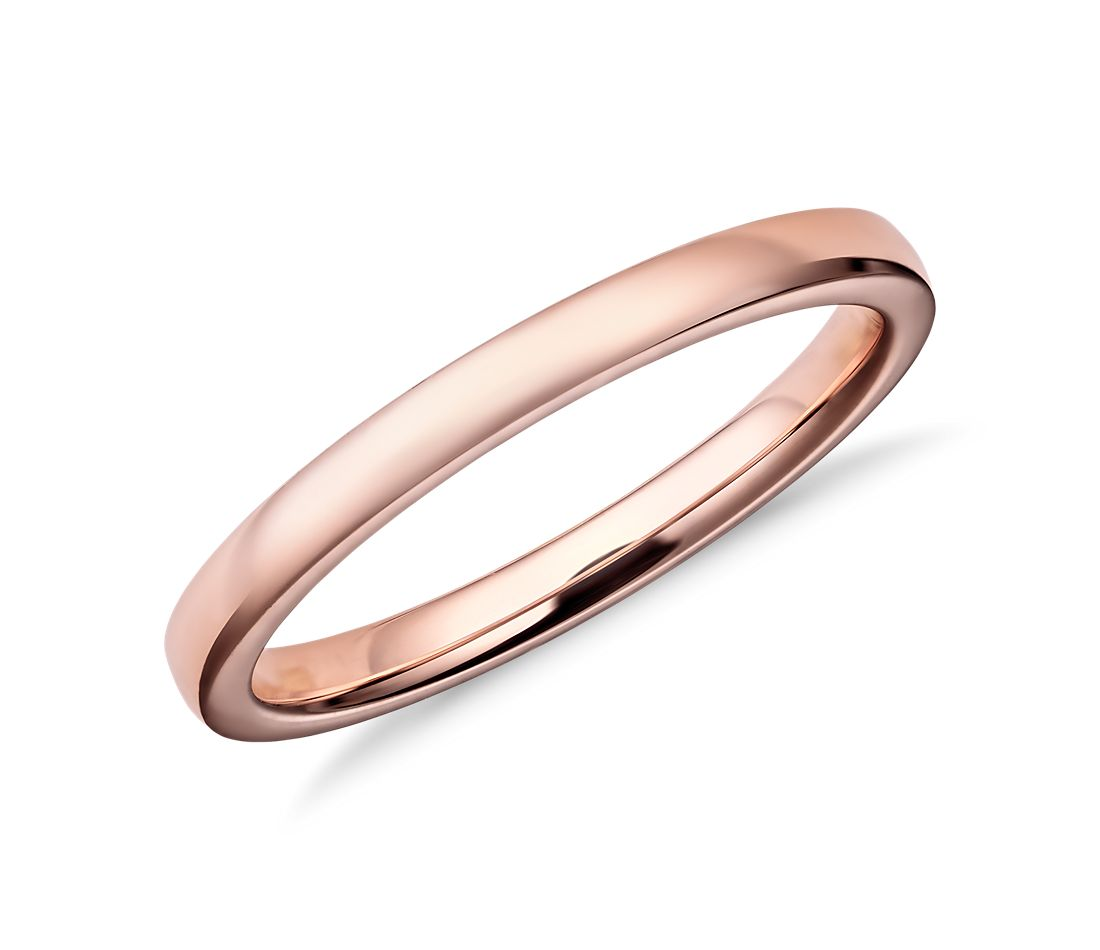 Rose Gold Wedding Ring.Low Dome Comfort Fit Wedding Ring In 14k Rose Gold 2mm
