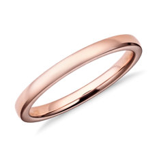 Low Dome Comfort Fit Wedding Ring in 14k Rose Gold (2mm)