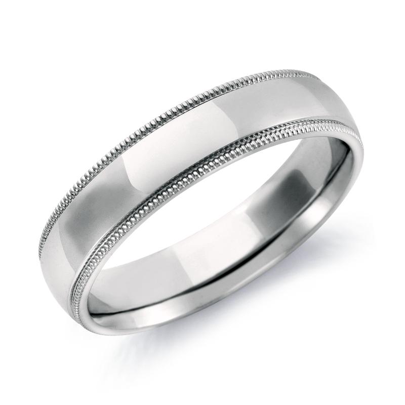 Milgrain Comfort Fit Wedding Ring in 14k White Gold (5mm)