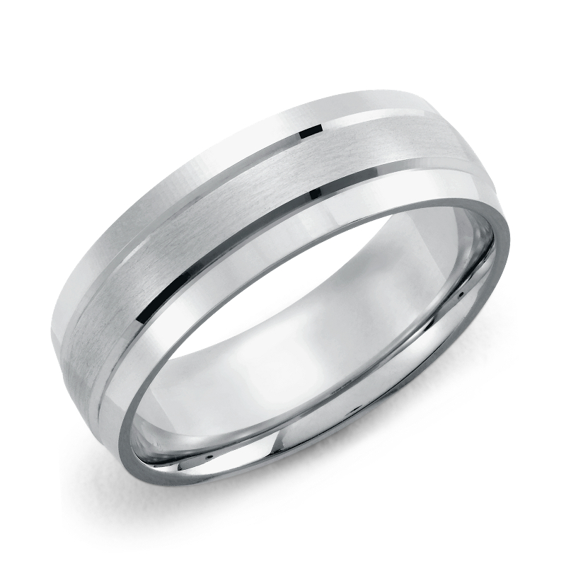 Double Inlay Comfort Fit Wedding Ring in 14k White Gold (7mm)