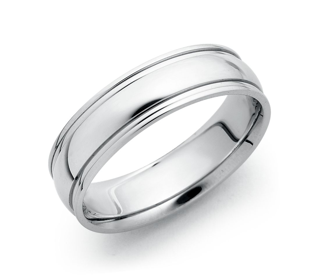 Ridged Comfort Fit Wedding Ring in 18k White Gold (6mm)