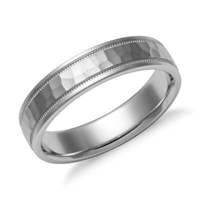 Hammered Milgrain Comfort Fit Wedding Ring in 14k White Gold 5mm