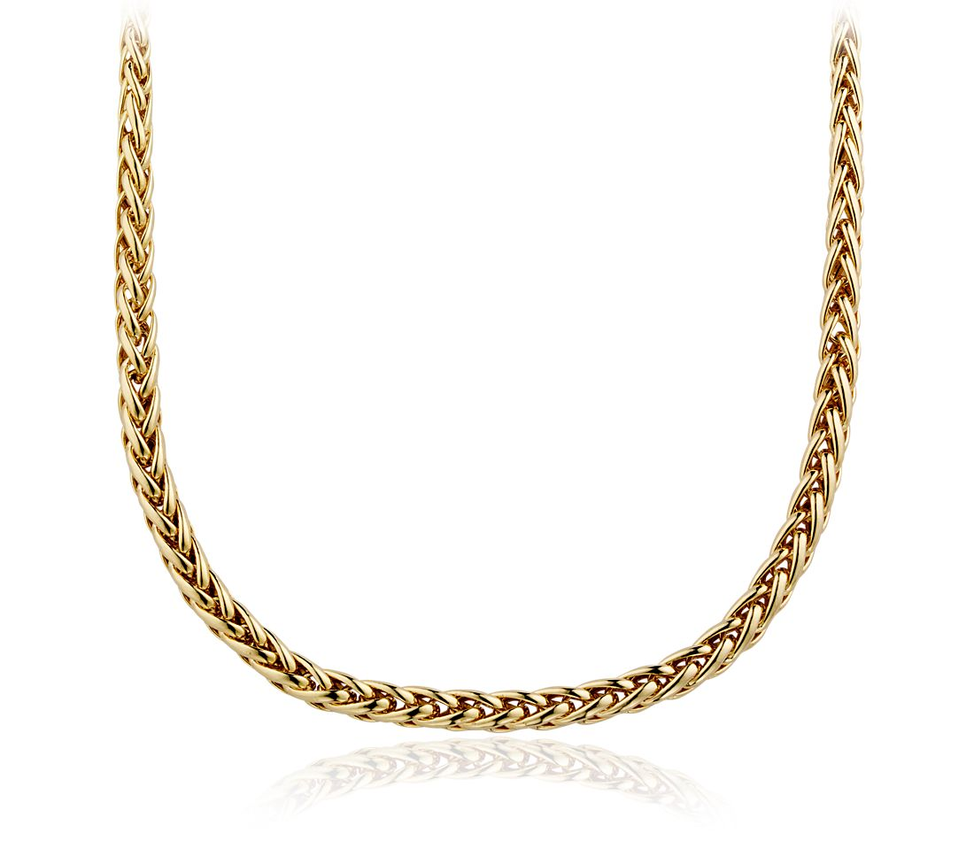 Wheat Chain Necklace in 14k Yellow Gold