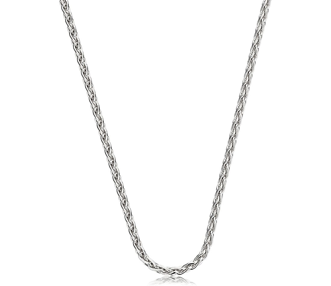 Wheat Chain in 14k White Gold (1.2mm)