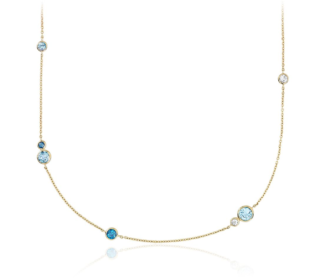 White, Swiss and London Blue Topaz Stationed Necklace in 14k Yellow Gold