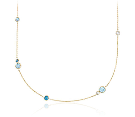 Blue Nile White, Swiss and London Blue Topaz Stationed Necklace in 14k Yellow Gold
