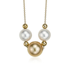 White and Golden South Sea Pearl Necklace in 14K Yellow Gold (9.0-11.5mm)