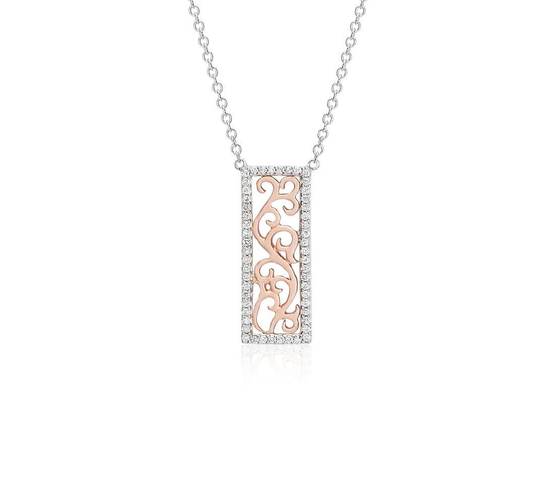 Rectangle Laser Cut Diamond Pendant in 14k White and Rose Gold