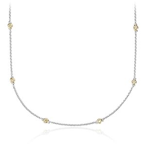 Yellow Diamond Station and Heart Necklace in 18k White and Yellow Gold (1/4 ct. tw.)