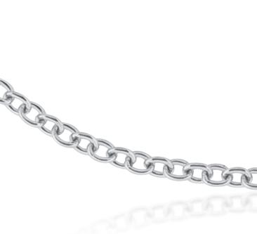 Cadena tipo cable en oro blanco de 18k.