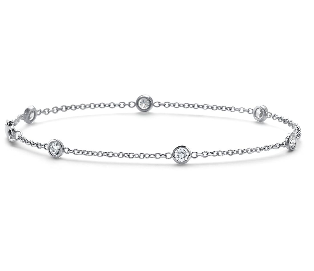 Bezel-Set Diamond Bracelet in 18k White Gold (5/8 ct. tw.)