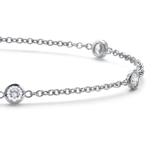 Bezel-Set Diamond Bracelet in 18k White Gold