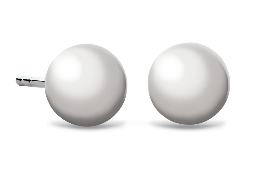 Ball Stud Earrings in 14k White Gold (6mm)