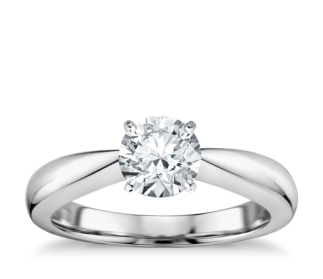 Classic Tapered Four Prong Engagement Ring in 18k White ...