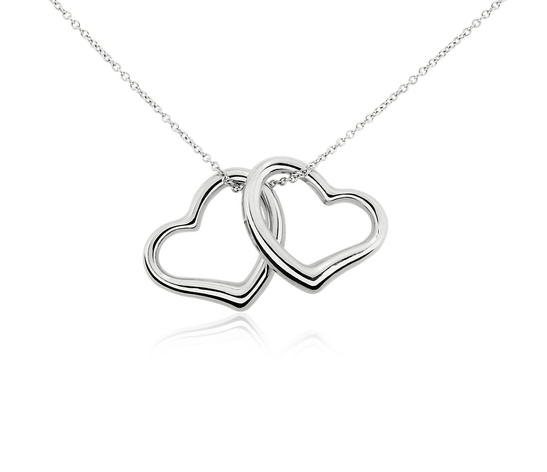 Duo heart pendant in 14k white gold blue nile duo heart pendant in 14k white gold aloadofball Gallery