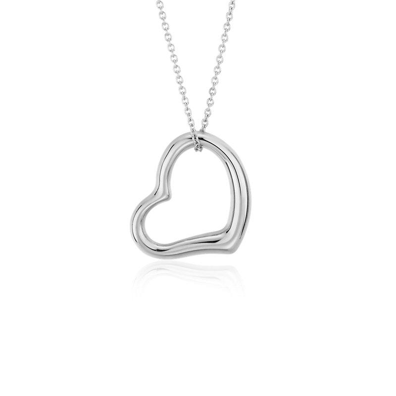 Open Heart Pendant in 14k White Gold