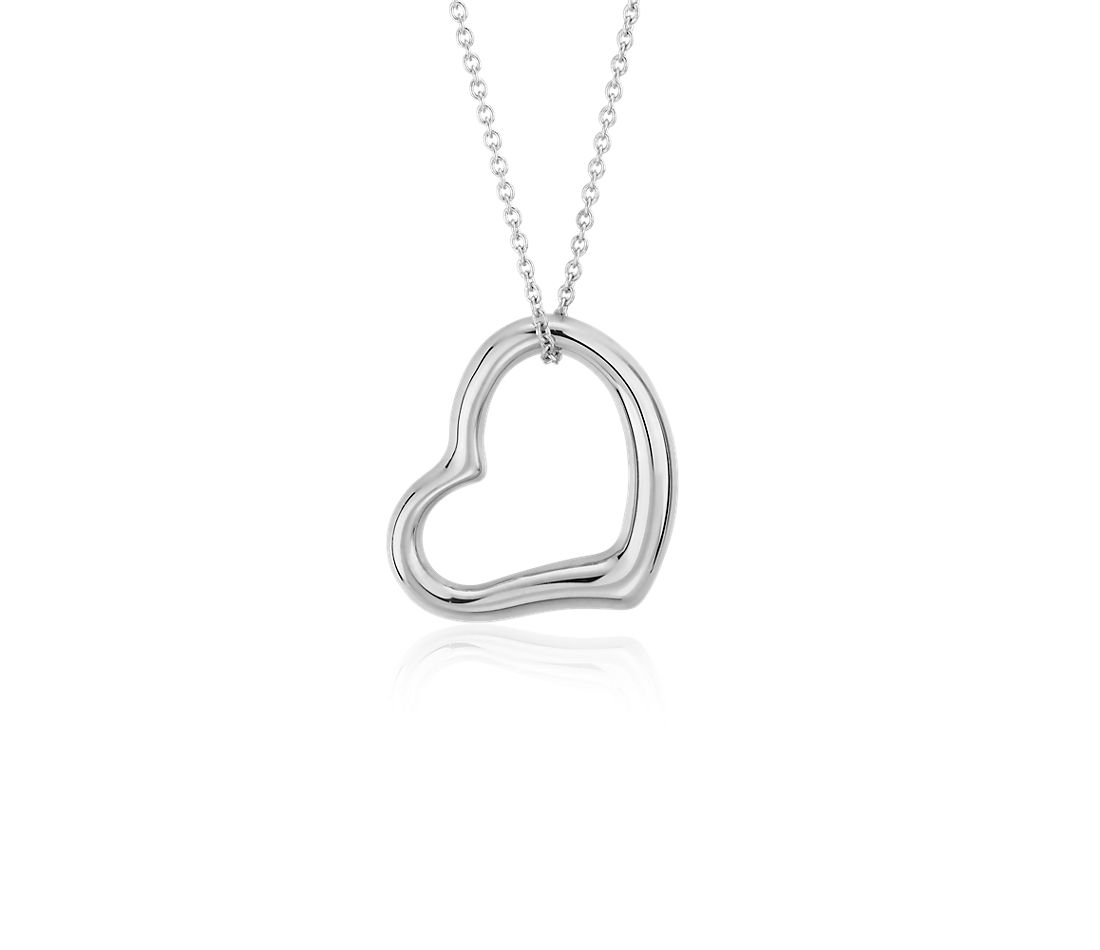 Open Heart Pendant in 14k White Gold