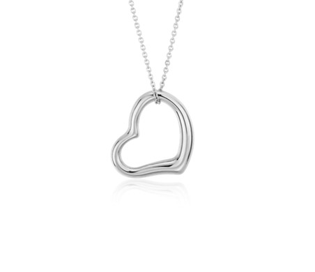 Open heart pendant in 14k white gold blue nile open heart pendant in 14k white gold mozeypictures Images