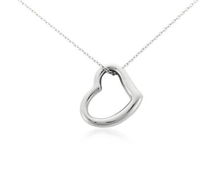 Open heart pendant in 14k white gold blue nile open heart pendant in 14k white gold aloadofball Images
