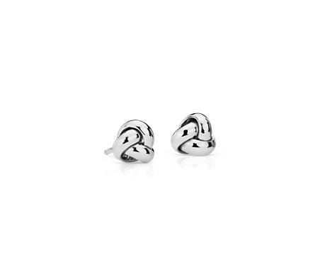 Pee Trio Love Knot Stud Earrings In 14k White Gold 7mm